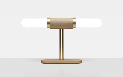 Scandal Table Lamp. Brass. Brass Mesh. Snow Shades