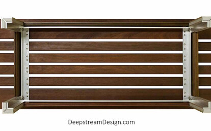 A Wooden Modern Gallery Bench with a strong aluminum frame