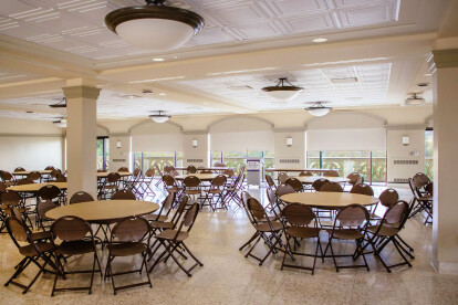 The new suspended ceiling at Mount Saint Mary's University Campus Center solves a noise control problem without sacrificing aesthetics.