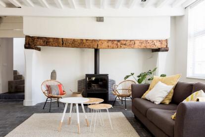 Internal conversion of a rural Belgian farmhouse strikes a balance between original and contemporary elements
