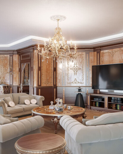 Stylish Living Room and Dining Room Villa Design